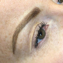 Close up detail of a microfusion brow. _