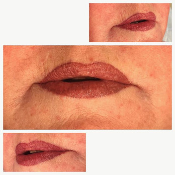 Fuller defined lips with a flush of colo