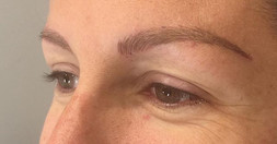 Microbladed brows and a soft top lash enhancement or liner tattoo