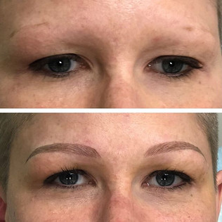 What a transformation!! Lovely blonde brow done hybrid of microblading and powder shading