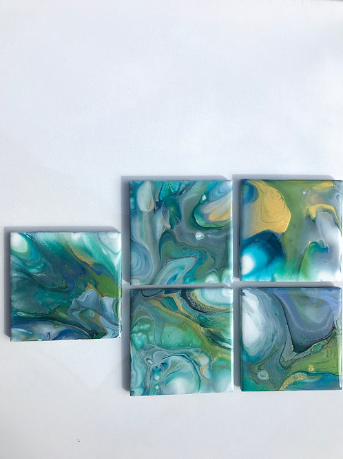 #7- Set of (5) Resined Coasters
