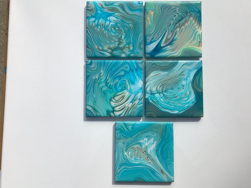 #6 Set of (5) Resined Coasters.
