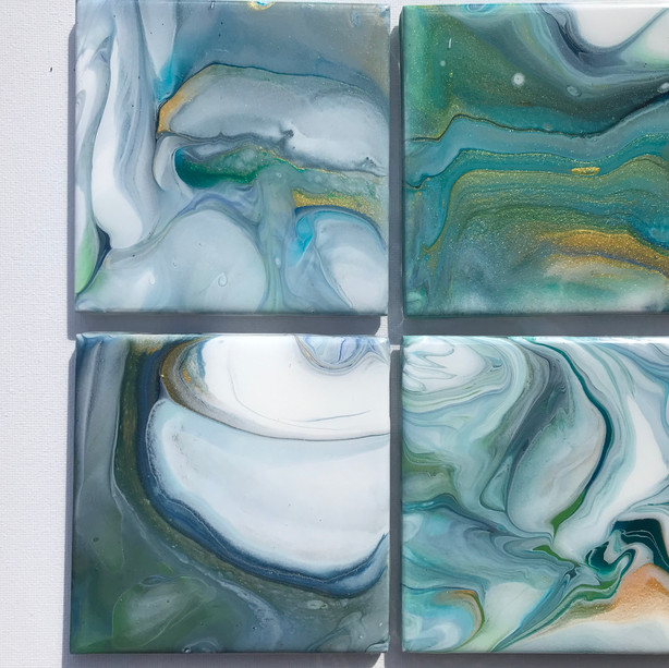 #4- (4) Blue Green Gold White Coasters_