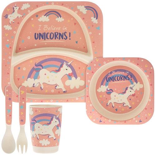 Unicorn Bamboo 5 Piece Eating Set