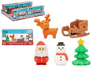 Set of 5 Festive Erasers