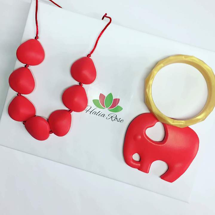 New Mum Gift Set. Teething accessories. Silicone teething jewellery