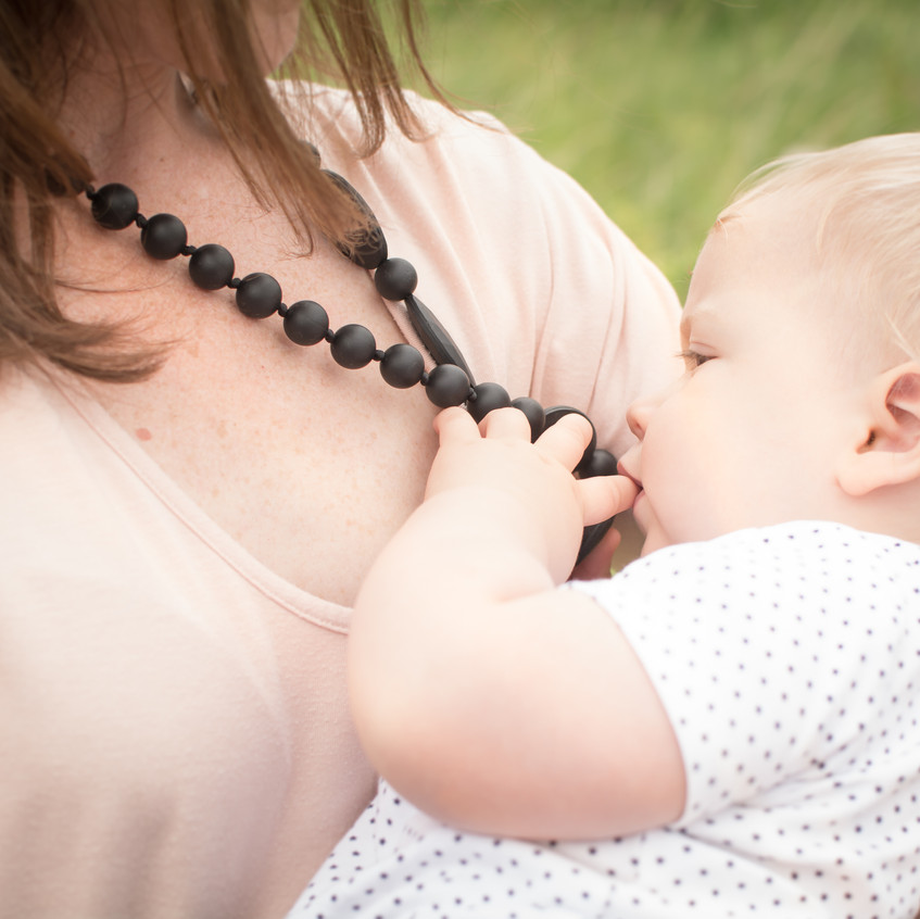 Teething necklace. Teething baby. New Mum. Baby-safe jewellery