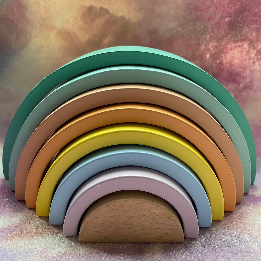 Large wooden pastel rainbow