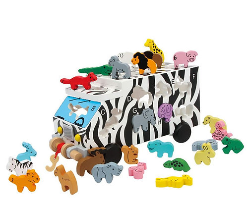 Wooden Alphabet Animal Bus