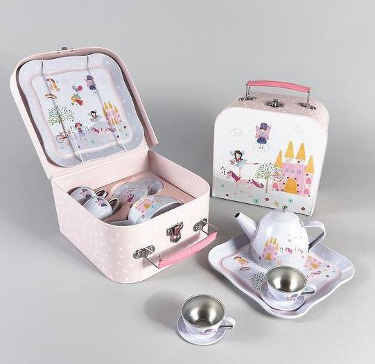 Fairy unicorn play tin tea set