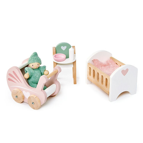 Wooden Dolls House Nursery Set