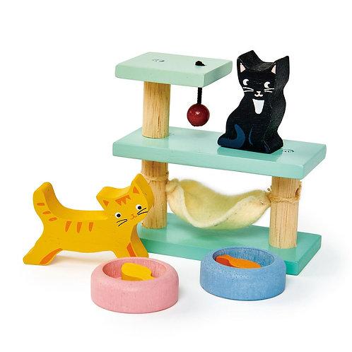 Wooden Dolls House Pet Cats Set
