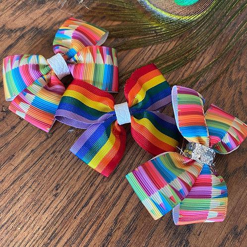 Rainbow Handmade Hair Bows
