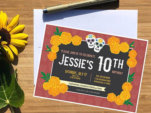 Day of the Dead Marigolds Personalized Kids Birthday Invitation