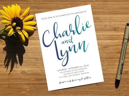 Minimalist Calligraphy Wedding Invitations, RSVP