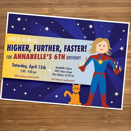 Captain Marvel inspired Girls Birthday Party Invitation