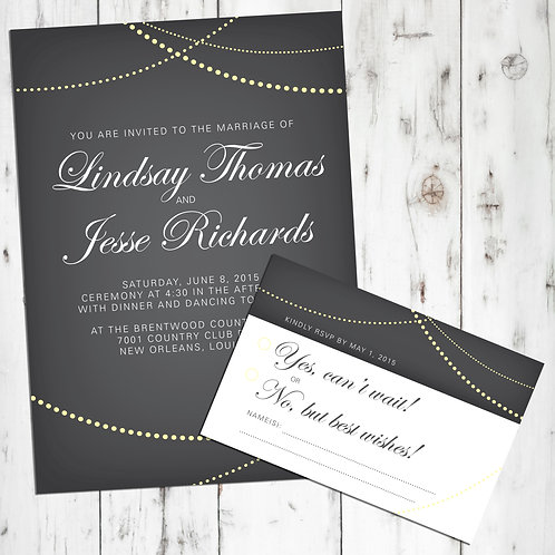 String Lights / Globe Lights Wedding Invitations, RSVP