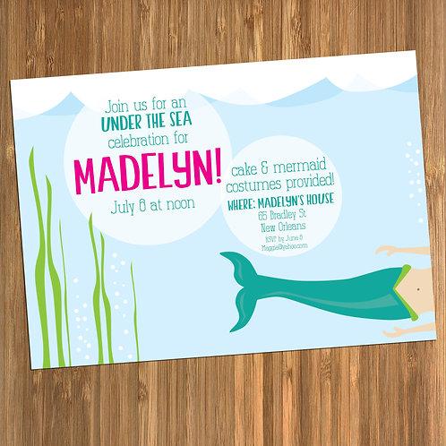 Mermaid / Under Sea Personalized Birthday Invitation
