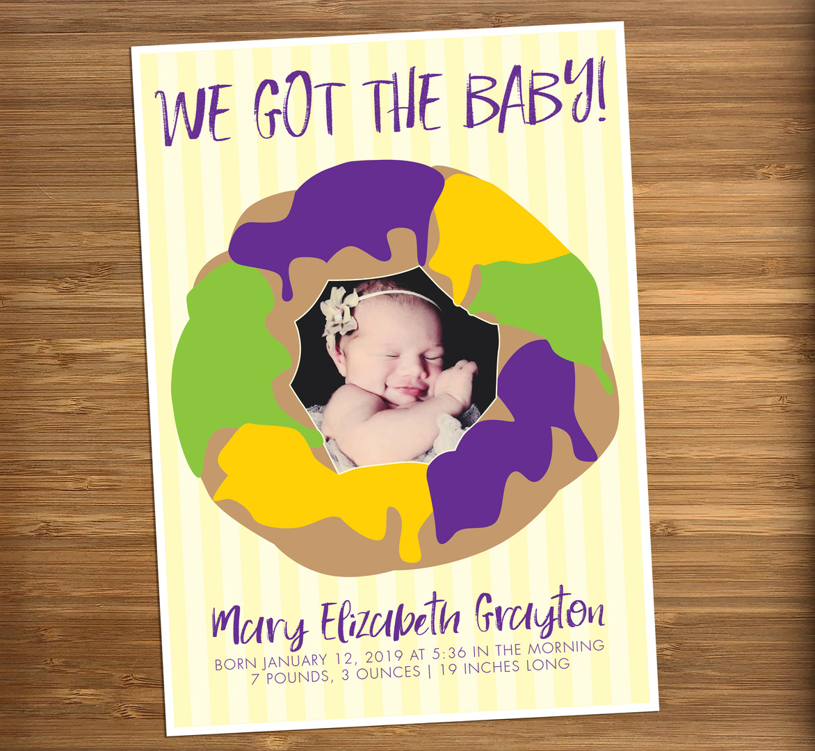 King Cake New Baby Announcement