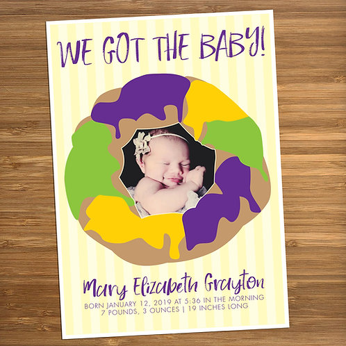 King Cake Baby / We Got the Baby Personalized Baby Shower Invitation