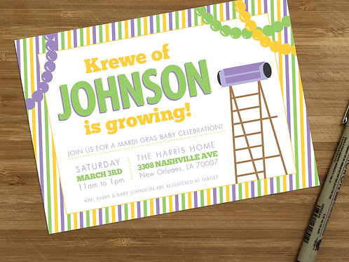 New Orleans Mardi Gras Personalized Baby Shower Invitation