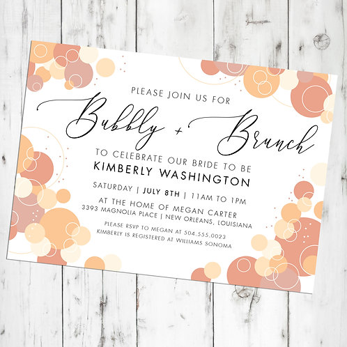Bubbly Champagne Brunch Bridal Shower / Engagement Party Personalized Invitation