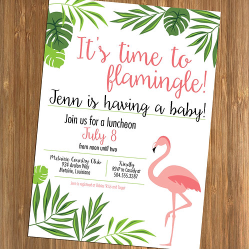 Flamingo / Flamingle / Jungle Leaves Personalized Baby Shower Invitation