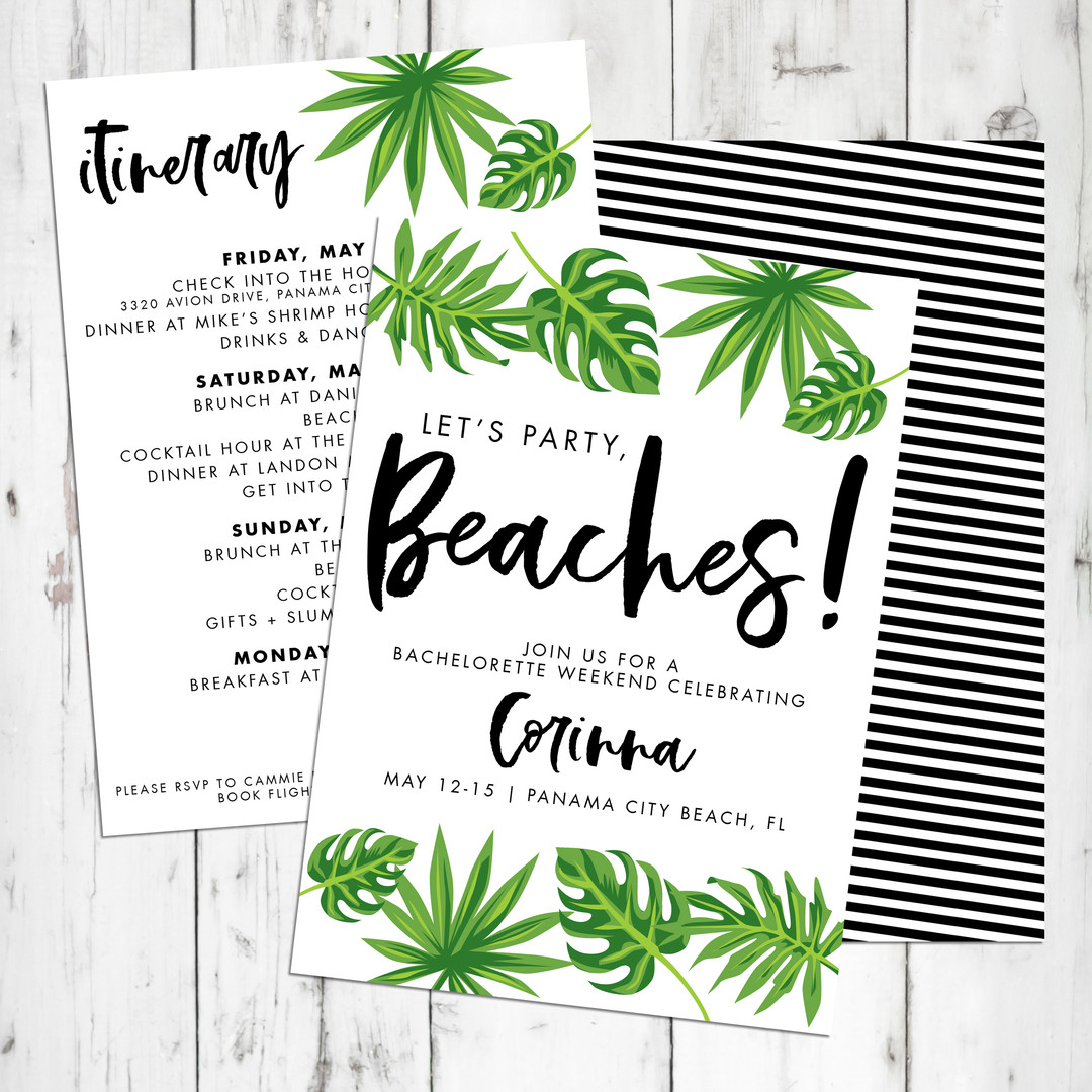 Let's Party Beaches Bachelorette Invite