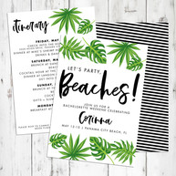 Let's Party Beaches Bachelorette Invite