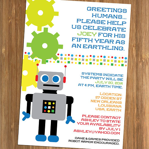 Robot / Space Themed Personalized Birthday Invitation