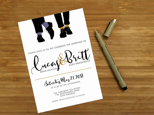 Mr + Mr Fancy Shoes / Fancy Socks Wedding Invitations, RSVP