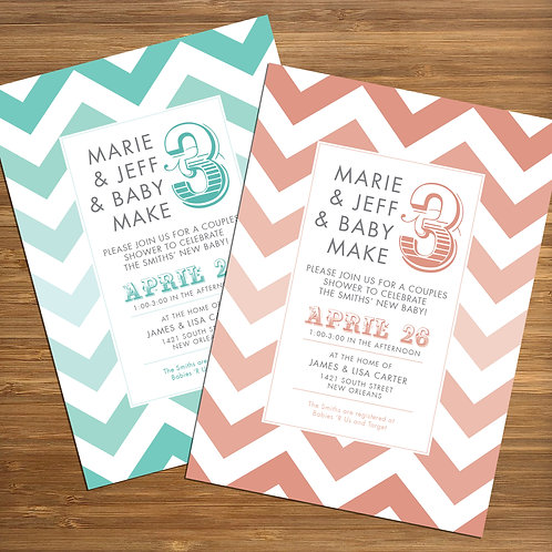 Chevron Pattern / Couples / Coed Personalized Baby Shower Invitation
