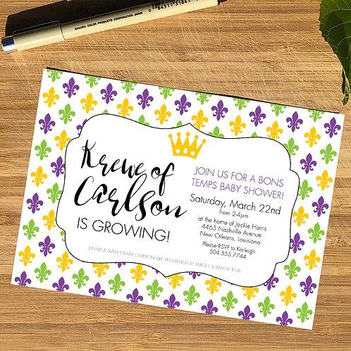Mardi Gras / Fleur de Lis Personalized Baby Shower Invitation