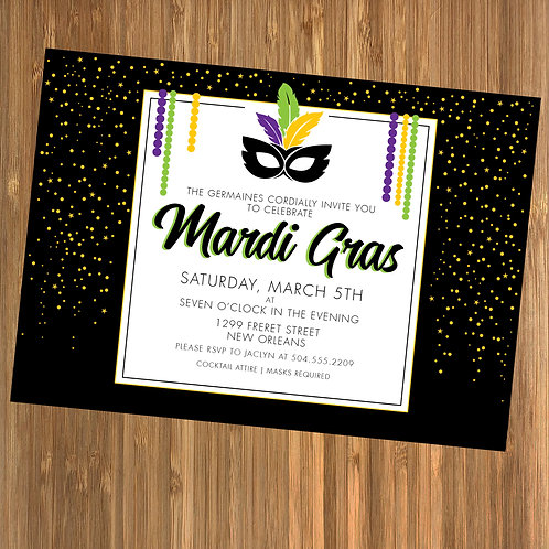 Mardi Gras Masquerade / Mardi Gras Mask Personalized Party Invitation