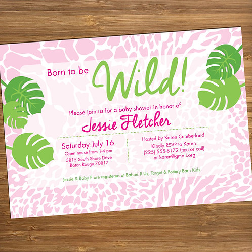 Born to Be Wild / Jungle / Animal Print Personalized Baby Shower Invitation