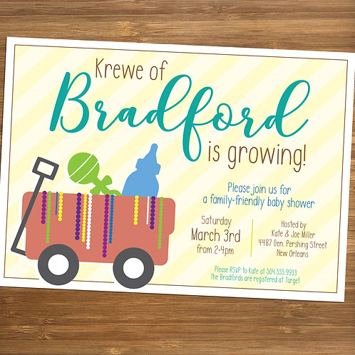 Mardi Gras Krewe is Growing / Wagon Personalized Baby Shower Invitation
