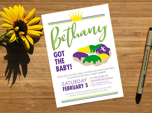 King Cake Baby Mardi Gras Personalized Baby Shower Invitation