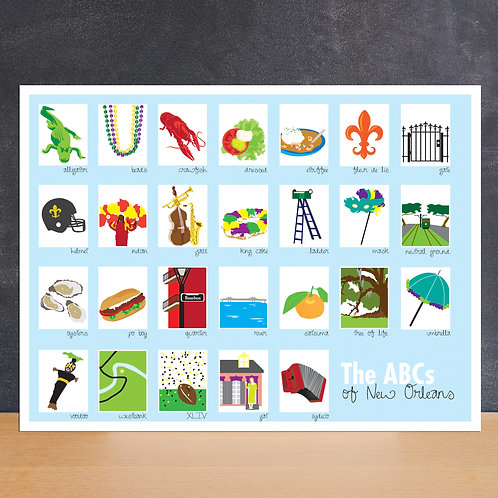 ABC's of New Orleans Kids Room / Nursery Poster