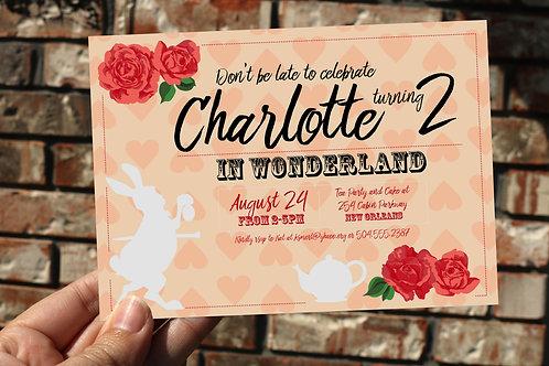 Alice in Wonderland / White Rabbit Birthday Party Invitation