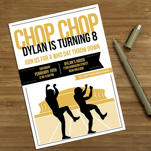 Choppa Style New Orleans Saints Personalized Kids Birthday Invitation