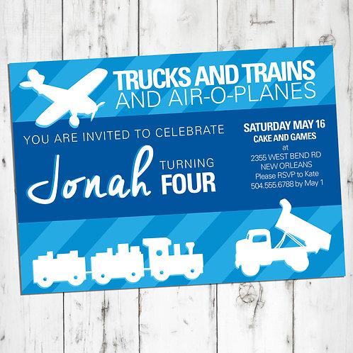Trucks, Trains, Airplanes Personalized Birthday Invitation