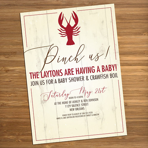 Crawfish Boil / New Orleans / Louisiana Personalized Baby Shower Invitations