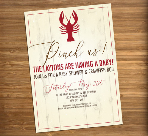 Crawfish Boil New Orleans Louisiana Personalized Baby Shower