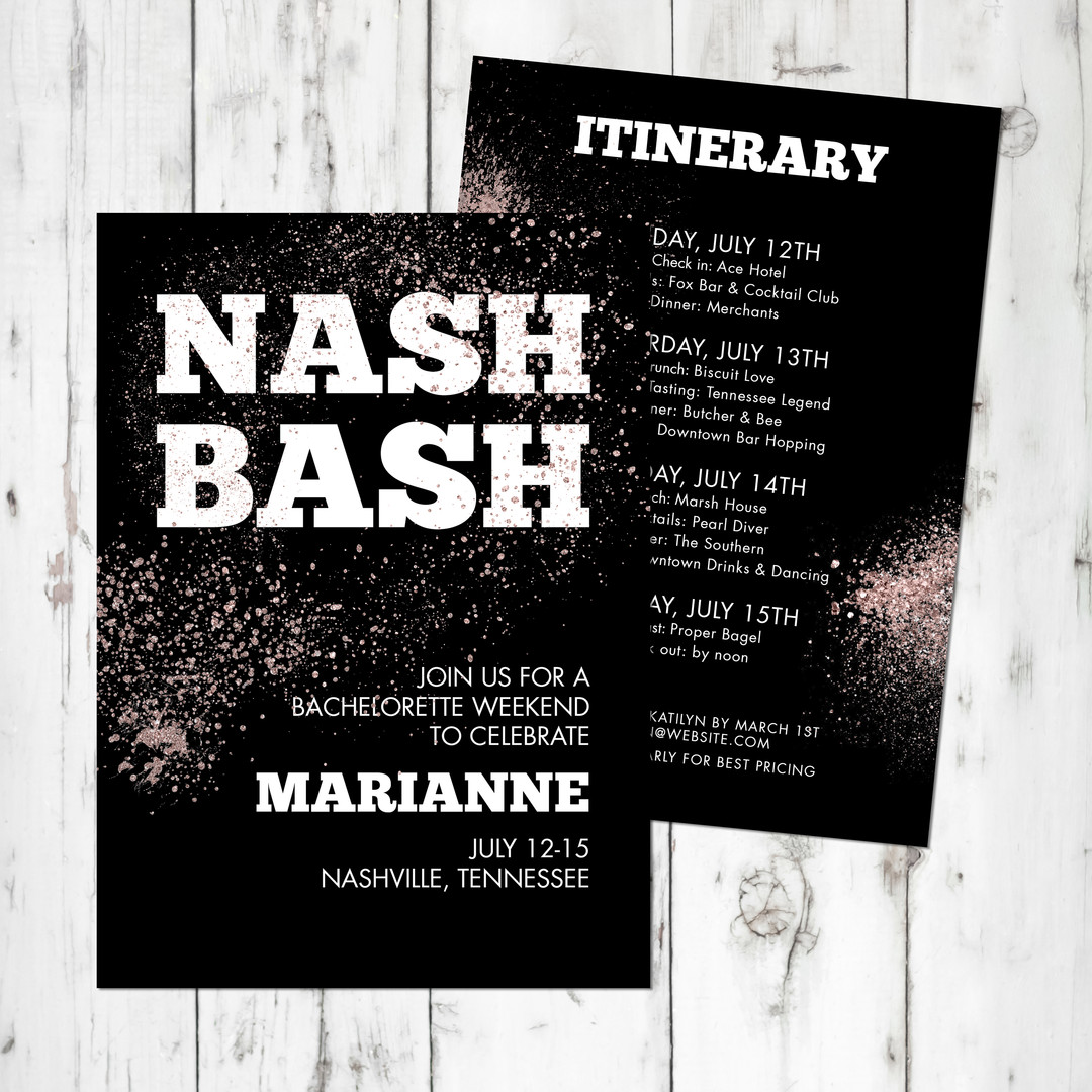 Nash Bash Bachelorette Invitation