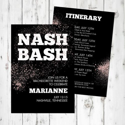 Nash Bash Bachelorette Invitation