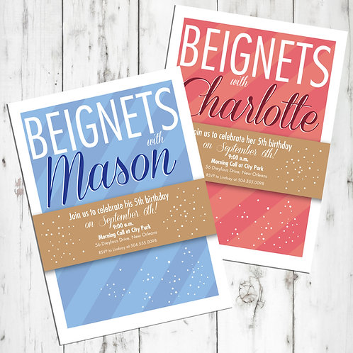 Beignets New Orleans Personalized Birthday Invitations