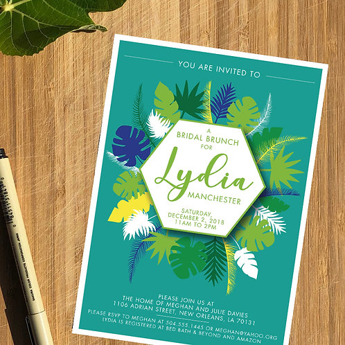 Tropical Bridal Shower Personalized Invitation