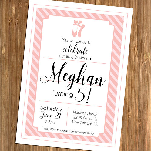 Pink Ballerina / Ballet Shoes Personalized Birthday Invitation