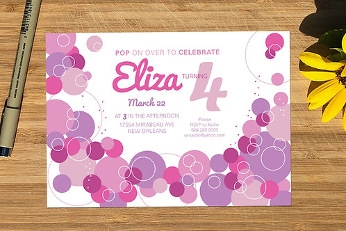 Pink Baby Bubbles Personalized Birthday Invitation