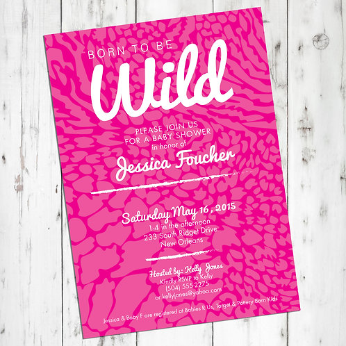 Born to Be Wild / Animal Print Personalized Baby Shower Invitation